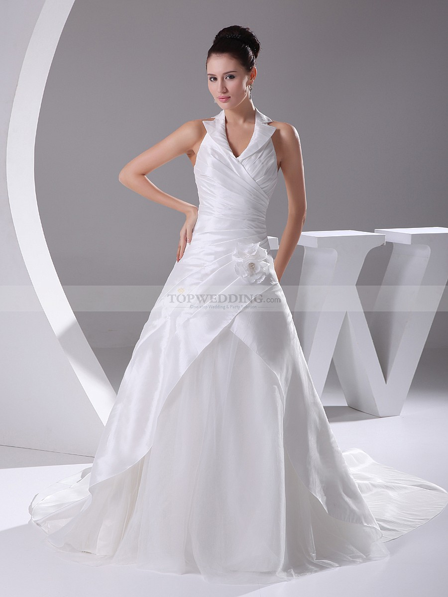 Life Styled Events | Haltered-Taffeta-Overlaid-Wedding-Dress-with ...